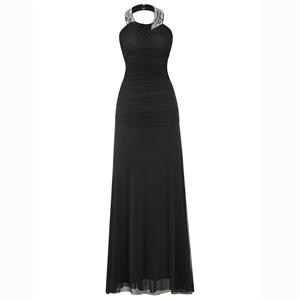 Sleeveless Halter Dress, Beaded Pleated Dress, Pleated Sheath Maxi Dress, Solid Color Chiffon Dress, Women