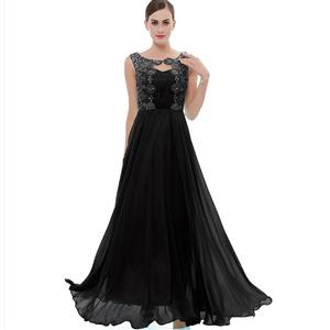 Sleeveless Round Neck Dress, Black Beaded Appliques Maxi Dress, Appliques Chiffon Long Dress, Women