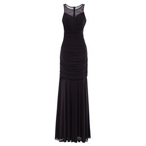 Sleeveless Round Neck Maxi Evening Gowns, Elegant Black Ruched Chiffon Evening Dress, Sheath Pleated Chiffon Long Evening Dress, Women