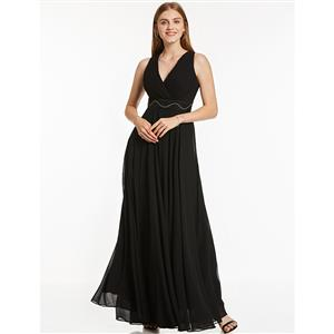 Sleeveless V Neck A-Line Dress, Black Pleated A-Line Dress, Women