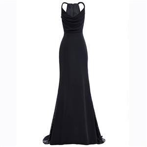 Black Spaghetti Straps Dress, Sleeveless Low Cut Dress, Black Sequins Dress, Pleated Sequins Dress, Women