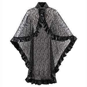 Black Lace Lace-up Cape, Stand Collar Buckle Cape, Women