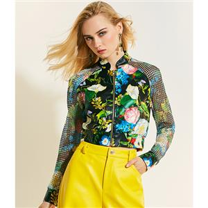 Stand Collar Short Jacket, Fashion Jacket for Women, Raglan Sleeve Eyelet Jacket, Black Floral Print Jacket, Black Casual Zipper Jacket, Sexy Fashion Jacket, #N15773
