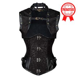 Steampunk Black Underbust Corset, Sexy Steel Boned Corset, Hot Sale Jacquard Corset with Jacket, Women