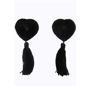 Black Tassel Heart Pasties, Heart Shaped Pasties, Lingerie Pasties, #MS7275
