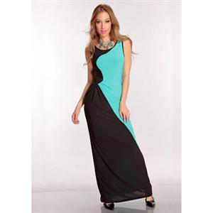 Slinky Mini Dress, Black & Turquoise Long Dress, Spliced Gowns, #N6193