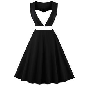 Sleeveless Vintage Dress, Sweetheart Neckline Swing Dress, Plus Size Vintage Dress, 1950s Vintage Dress for Women, Black Patchwork Vintage Dress, Plus Size Vintage Dress Black, #N15736