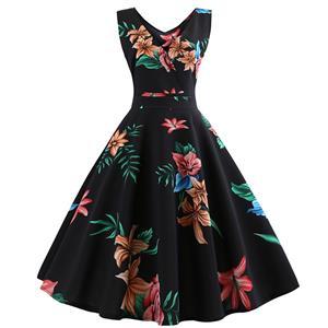 Vintage Dresses for Women, Cocktail Party Dress, Vintage Sleeveless Tank Dresses, A-line Cocktail Party Swing Dresses, Floral Print Vintage Dress, V Neck Vintage Day Dress, #N18577