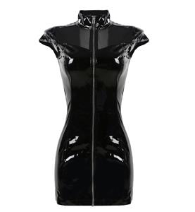 Punk Black Vinyl High Neck Zipper Bodycon Clubwear Dress N10414