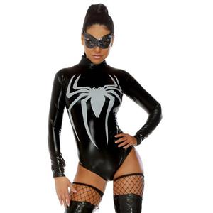 Superhero Costume for Womens, Black Spider Costume for Halloween, World Wide Web Sexy Superhero Costume, Toxic Spider Costume, #N11212