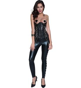 Corset and Leggings Match Set, Black Corset, Cheap Black Punk, Women