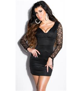 Meeting minidress, Black dress with lace, evening minidress, #N6813