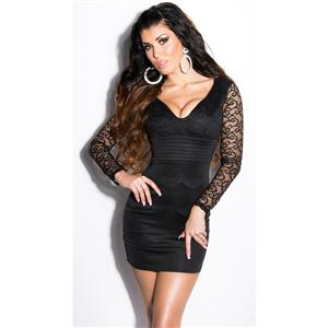Meeting minidress, Black dress with lace, evening minidress, #N6813