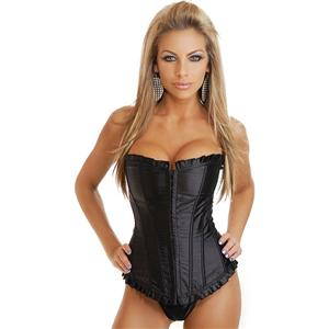 satin Corset, Strapless Ruffled Corset, corset with ruffled edges, #M2673
