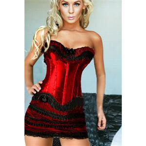 underwire bustier, red lace Corset  Corsets, Sexy Plus Size Corsets, #N2241