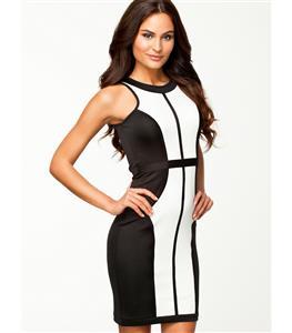 Block Slim Dress, Black White Sleeveless Slim Evening Dresses, Patchwork Mini Dress, #N8629