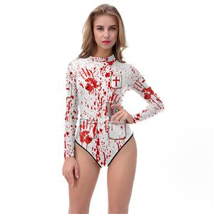Horrible 3D Digital Printed Bloody High Neck Bodysuit Halloween Costume N18315