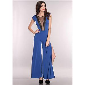 Mesh Cut Out Side Slits Jumper Outfit, Blue Jumper, Blue Cut Out Jumper, #N5902