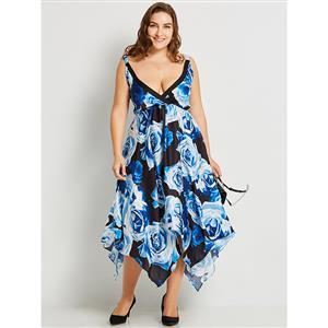 Sleeveless Midi Dresses, Deep V Midi Dress Blue, Plus Size Midi Dress, Blue Backless Midi Dress, High Waist Blue Asymmetric Dress, Blue Plus Size Asymmetric Dresses, Floral Print Asymmetric Dresses, #N15800