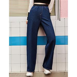High Waist Jeans, Womens Dark-blue Pants, Dark-blue Casual Jeans for Women, Full Length Pants, Pocket Pants for Women, Casual Wide Leg Pants, #N16033