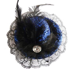 Blue Glitter Mini Top Hat, Feather Glitter mini hats, Fever Mini Top Hat on Headband, #J7296