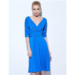 Half Sleeve Deep V Neck Midi Cocktail Gowns, Ruched Solid Color  Prom Dress, Blue Half Sleeve Midi Cocktail Dress, Women