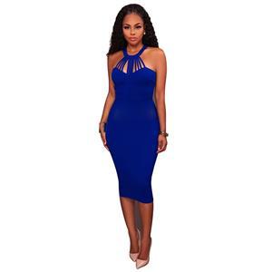 Blue Sleeveless Midi Dress, Halter Neck Bodycon Dress, Blue Women