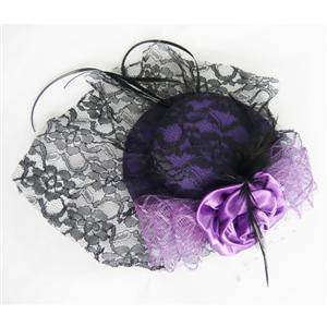 Purple Lace Top Cap, Lace Rose Top Cap, Mini Top Hat, #J7331