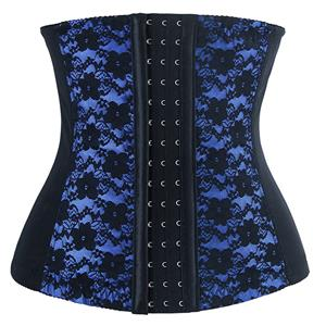 9 Steels Fashion Blue and Black Lace Waist Cincher Plus Size Bustier Corset N10619
