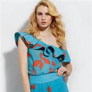 Blue Floral Print Blouses, Sexy Women