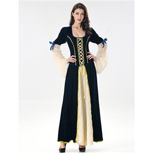 Blue Maiden Faire Costume, Medieval Costume for Women, Medieval Ladies Cosplay Costumes, Blue Medieval Ladies Halloween Costumes, #N17077