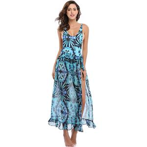 Sexy Blue Plant Print Swimsuit&Cover Up, Women