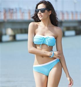 Blue Polka Dots Bikini, Polka Dot Bandeau Bikini, White and Blue Lined padded Bikini, #BK8402