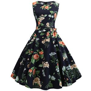 Vintage Dresses for Women, Cocktail Party Dress, Vintage Sleeveless Tank Dresses, A-line Cocktail Party Swing Dresses, Print Vintage Dress, Round Neck Vintage Day Dress, #N18823