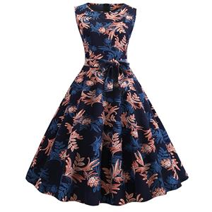Vintage Dresses for Women, Cocktail Party Dress, Vintage Sleeveless Tank Dresses, A-line Cocktail Party Swing Dresses, Print Vintage Dress, Round Neck Vintage Day Dress, #N18822