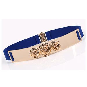Luxury Metal Waist Belt, Rose Metal Blue Waist Belt, Vintage Waist Belt Blue, Waist Belt for Women, Fashion Dress Waist Belt, Elastic Girdle for Women, #N17003