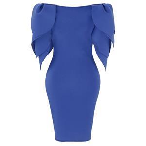 Petal Sleeve Dress, Round Neck Bodycon Dress, Blue Women