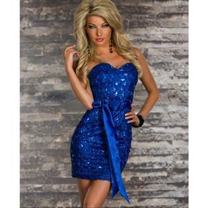 Blue Cross Foil Print Bandeau Dress, Blue Shiny Off Shoulder Dress, Blue Sequin Club Dress, #N6669