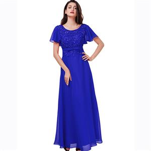 Short Sleeve Round Neck Dress, Appliques Sequins Maxi Dress, Blue Backless A-Line Dress, Women