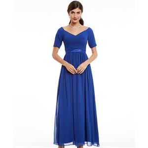 Short Sleeve V Neck Long Dress, Ruffle Draped A-Line Dress, Women