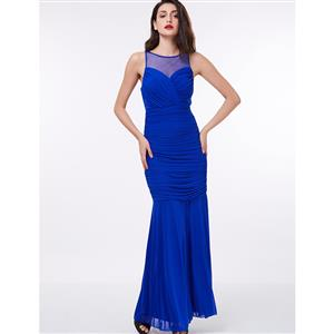 Sleeveless Round Neck Maxi Evening Gowns, Elegant Blue Ruched Chiffon Evening Dress, Sheath Pleated Chiffon Long Evening Dress, Women