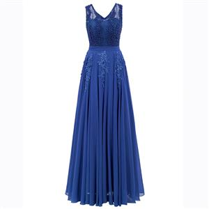 Blue Sleeveless V Neck Dress, Pearl Beading Maxi Dress, Blue Appliques Long Dress, Women