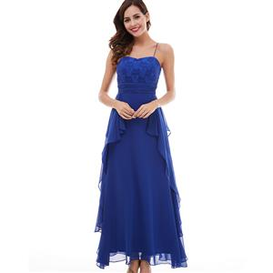 Sleeveless Spaghetti Strap Dress, Blue Sweetheart A-Line Dress, Women