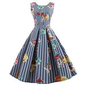 Vintage Dresses for Women, Cocktail Party Dress, Vintage Sleeveless Tank Dresses, A-line Cocktail Party Swing Dresses, Floral Print Vintage Dress, Round Neck Vintage Day Dress, #N18592