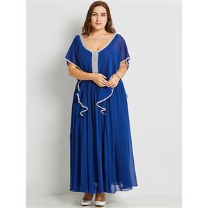 Batwing Sleeve Maxi Dresses, Deep V Neck Maxi Dress, Plus Size Maxi Dress, Blue Backless Maxi Dress, High Waist Blue  Maxi Dress, Blue Plus Size Maxi Dresses, #N15799