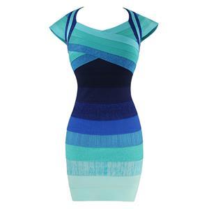 Sexy Bandage Dress for Women, Fashion Bandage Dresses, Bodycon Bandage Party Dress,V Neck Bandage Dress, Bandage Ombre Dresses, Blue Bodycon Bandage Dress, #N15637