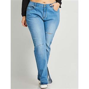 Jeans for Women, Full Length Plus Size Jean, Worn Hole Jean Pants, Women Cropped Jean Pants, Fashion Elastic Denim Pants, Fashion Jeans for Women, Plus Size Denim Pants, #N15732