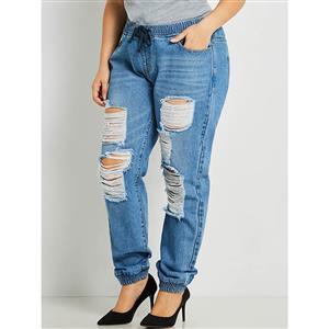 Plus Size Jeans for Women, Full Length Jean Pants,  Worn Hole Jean Pants, Women Cropped Jean Pants, Fashion Elastic Denim Pants, Fashion Jeans for Women, Plus Size Denim Pants, #N15731