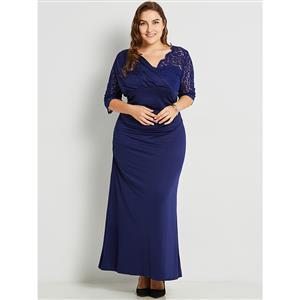 Three-Quarter Sleeve Dresses for Women, V Neck Maxi Dress, Plus Size Maxi Dress, Lace Patchwork Maxi Dress, Slim Fit Maxi Dress, Wrap V Neck Fashion Maxi Dresses, #N15770