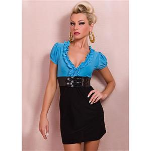 Ruffled Blue and Black Mini Dress, Blue and Black Mini Dress, Ruffled Mini Dress, Party Mini Dress, Summer Mini Dress ,V Neck Short Sleeve Mini Dress , #N20535